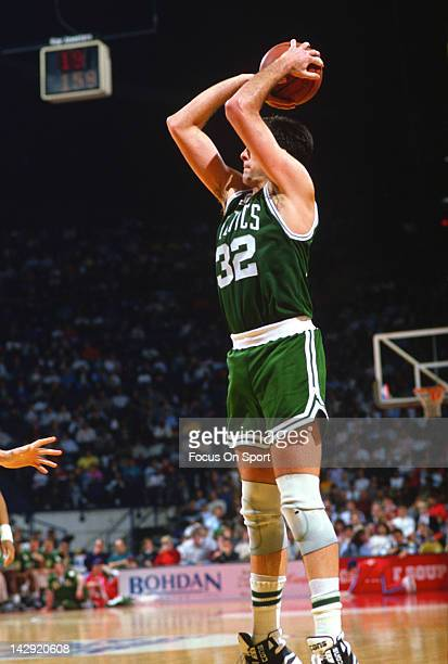 Kevin McHale of the Boston Celtics shoots against the Washington Bullets during an NBA basketball game circa 1988 at the Capital Center in Landover...