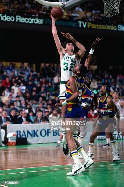 Kevin McHale of the Boston Celtics shoots during a game against the Denver Nuggets circa 1986 at the Boston Garden in Boston Massachusetts NOTE TO...