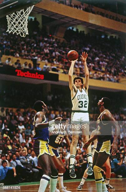 Kevin McHale of the Boston Celtics shoots the ball against the Los Angeles Lakers during a game circa 1988 at the Boston Garden in Boston...