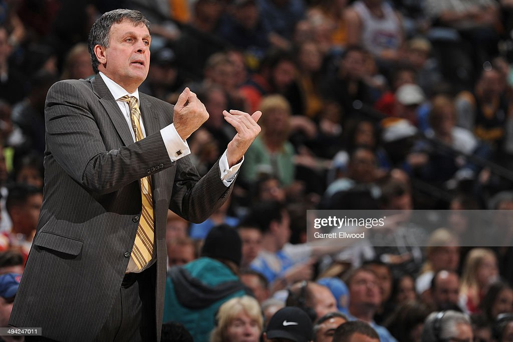 Kevin McHale of the Houston Rockets directs his team during the game against the Denver Nuggets on April 9, 2014 at the Pepsi Center in Denver, Colorado.