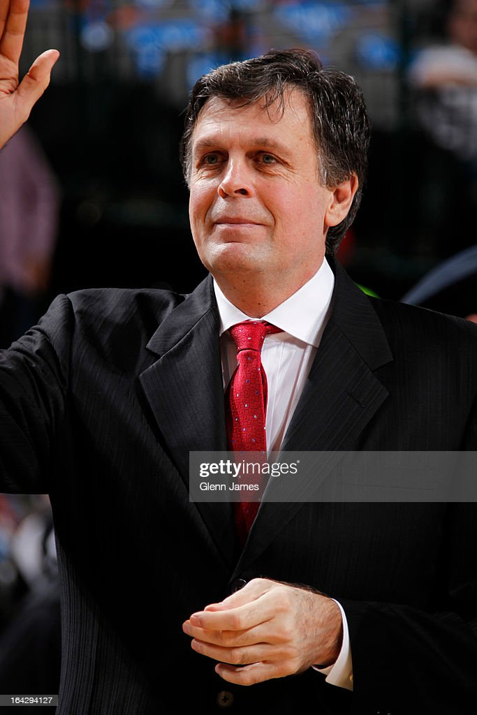 Kevin McHale of the Houston Rockets waves to fans before the game against the Dallas Mavericks on March 6, 2013 at the American Airlines Center in Dallas, Texas.
