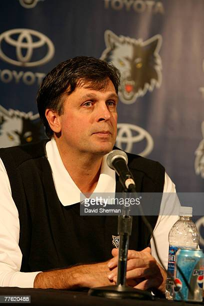 Kevin McHale Vice President of Basketball Operations of the Minnesota Timberwolves meets with the media following the announcement of Al Jefferson's...