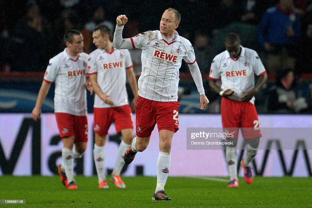 Kevin McKenna of Cologne celebrates after heading a goal during the Second Bundesliga match between 1. FC Koeln and VfL Bochum at RheinEnergieStadion on November 23, 2012 in Cologne, Germany.