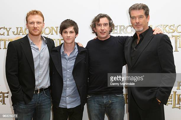Kevin McKidd Logan Lerman Steve Coogan and Pierce Brosnan attend photocall for 'Percy Jackson The Lightning Thief' on February 1 2010 in London...