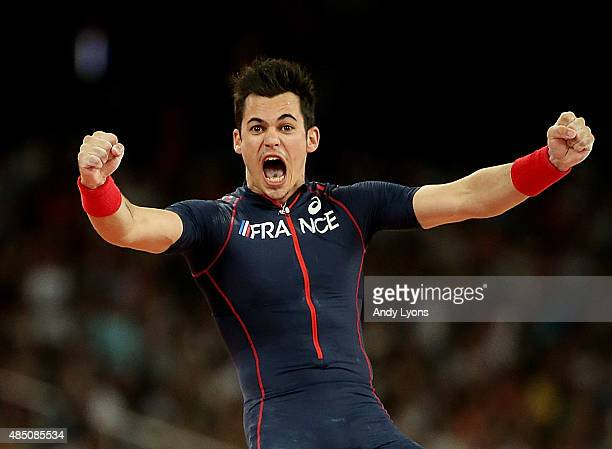 Kevin Menaldo of France reacts after competing in the Men's Pole Vault final during day three of the 15th IAAF World Athletics Championships Beijing...