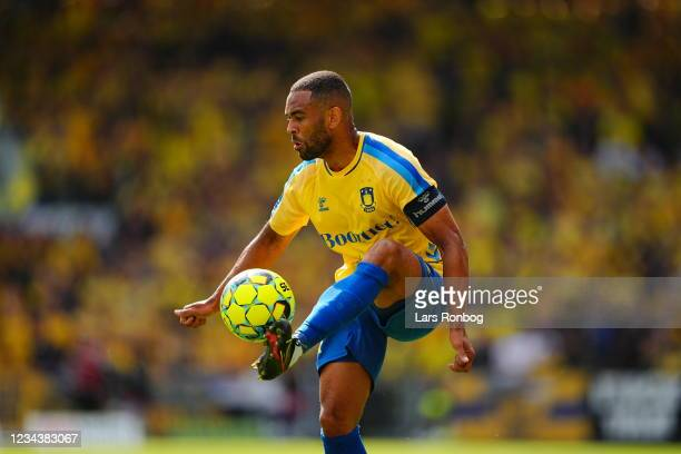 Kevin Mensah of Brondby IF controls the ball during the Danish 3F Superliga match between Vejle Boldklub and Brondby IF at Vejle Stadion on August 1,...