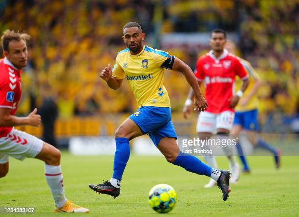 Kevin Mensah of Brondby IF in action during the Danish 3F Superliga match between Vejle Boldklub and Brondby IF at Vejle Stadion on August 1, 2021 in...