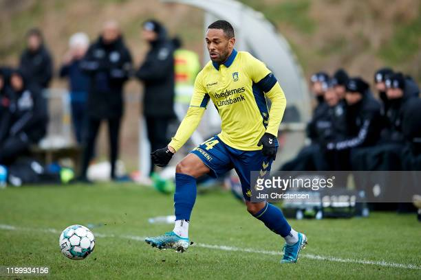 Kevin Mensah of Brondby IF in action during the testmatch between Brondby IF and SonderjyskE at Brondby Stadion on February 10, 2020 in Brondby,...
