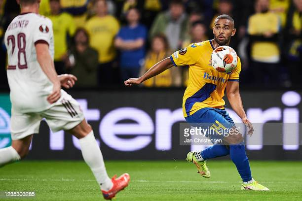 Kevin Mensah of Brondby IF in action during the UEFA Europa League match between Brondby IF and AC Sparta Praha at Brondby Stadion on September 16,...