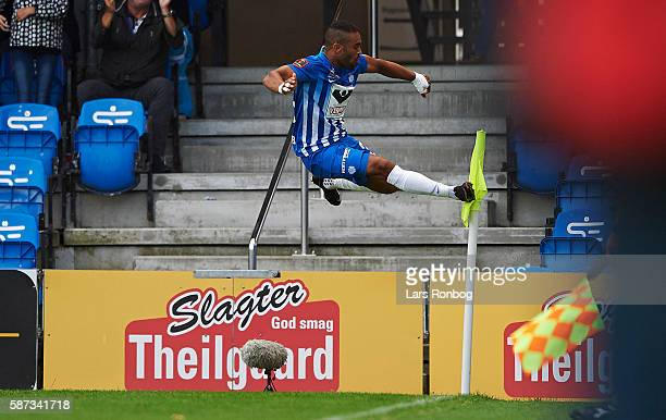Kevin Mensah of Esbjerg fB celebrates after scoring their first goal during the Danish Alka Superliga match between Esbjerg fB and AGF Aarhus at Blue...