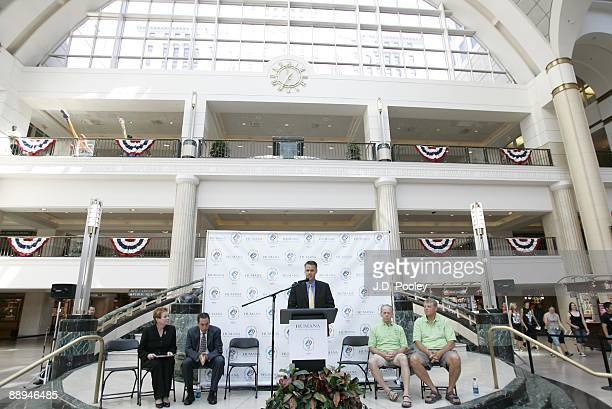 Kevin Meriwether, Humana President, speaks during the 2009 Humana & National Senior Games Athlete send-off tour at Tower City Center - Grand...