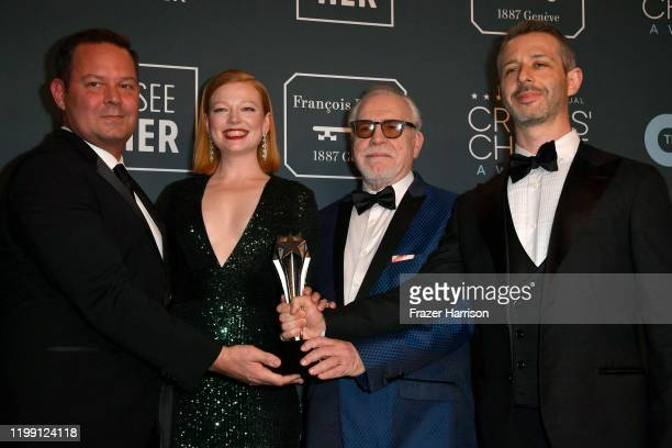 Kevin Messick Sarah Snook Brian Cox and Jeremy Strong pose in the press room with the Best Drama Series award for 'Succession' during the 25th Annual...