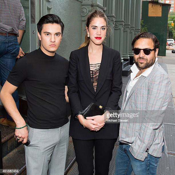 Kevin Michael Barba model Julia Loomis and designer Alvin Valley attend the Summer Cocktail Reception at Christian Dior Homme Boutique Soho on June...