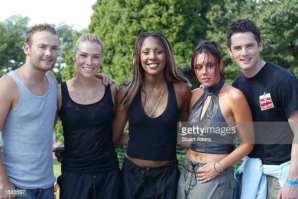 Kevin Michelle Kelli Jessica and Tony of the pop group Liberty X pose at Drayton Manor Park on August 18 2002 in Staffordshire England