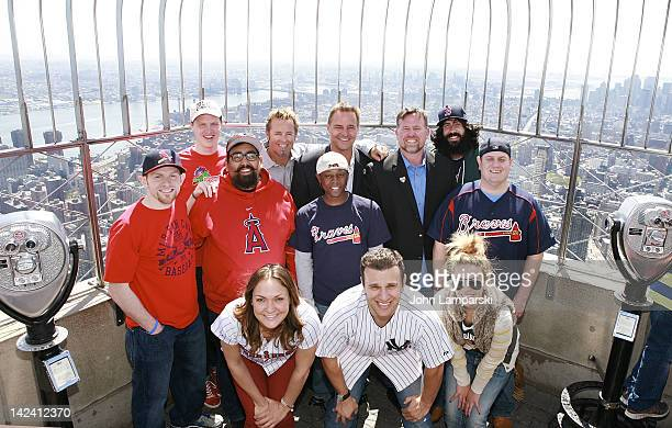 Kevin Millar Al Leiter Sean Casey and the MLB Cave Dwellers visit The Empire State Building on April 4 2012 in New York City