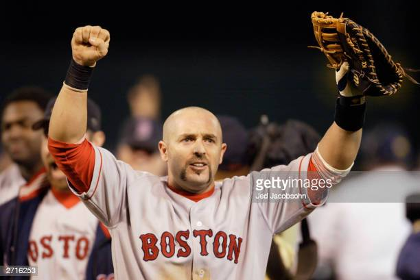 Kevin Millar of the Boston Red Sox celebrates the victory over the Oakland A's in game 5 of the 2003 American League Divisional Series at the Network...