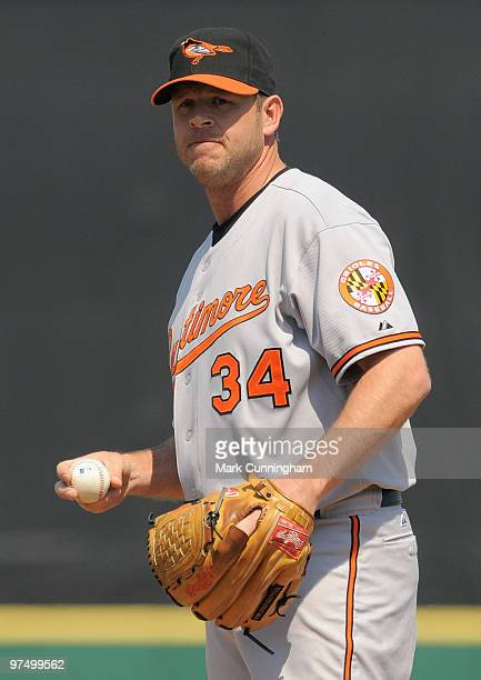 Kevin Millwood of the Baltimore Orioles pitches against the Detroit Tigers during a spring training game at Joker Marchant Stadium on March 6 2010 in...