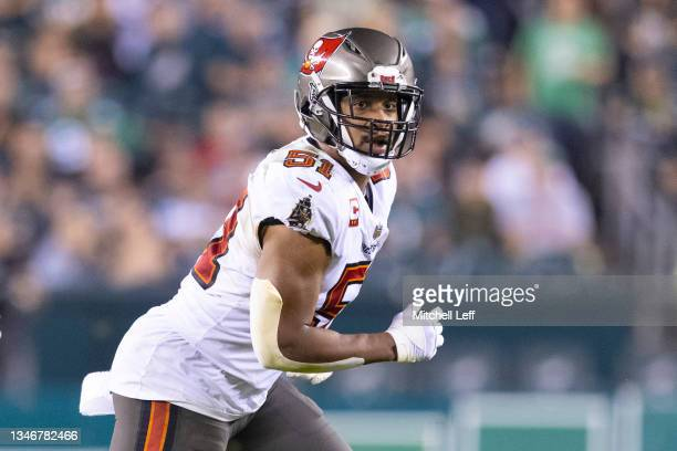 Kevin Minter of the Tampa Bay Buccaneers in action against the Philadelphia Eagles at Lincoln Financial Field on October 14, 2021 in Philadelphia,...