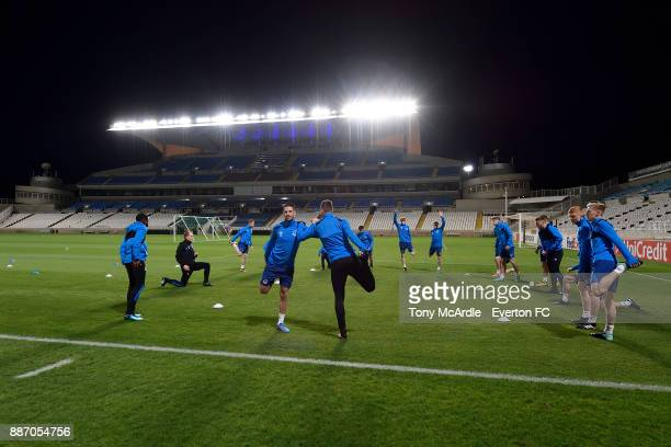 Kevin Mirallas and Morgan Schneiderlin during the Everton training session ahead of UEFA Europa League Group E match between Apollon Limassol and...