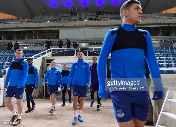 Kevin Mirallas and Nikola Vlasic during the Everton training session ahead of UEFA Europa League Group E match between Apollon Limassol and Everton...
