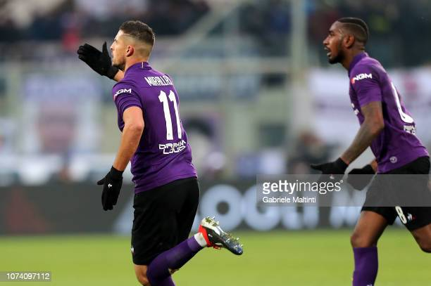 Kevin Mirallas of ACF Fiorentina celebrates after scoring a goal during the Serie A match between ACF Fiorentina and Empoli at Stadio Artemio Franchi...