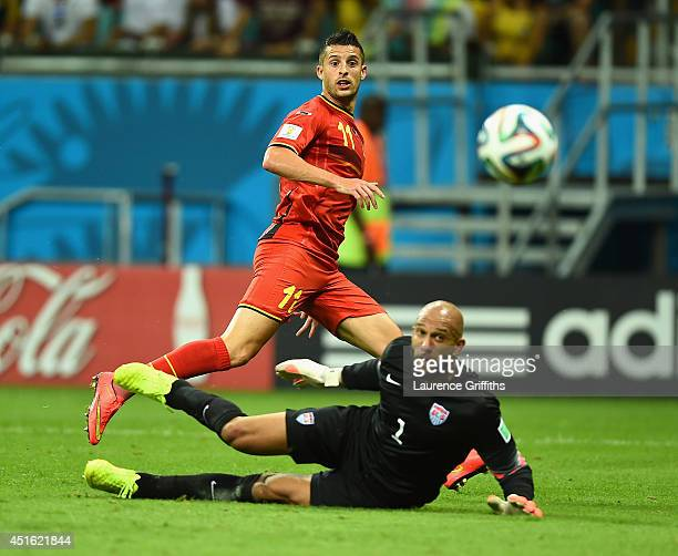 Kevin Mirallas of Belgium has his shot saved by Tim Howard of the United States during the 2014 FIFA World Cup Brazil Round of 16 match between...