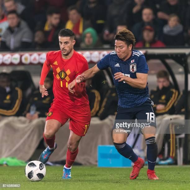 Kevin Mirallas of Belgium Takuma Asano of Japan during the friendly match between Belgium and Japan on November 14 2017 at the Jan Breydel stadium in...