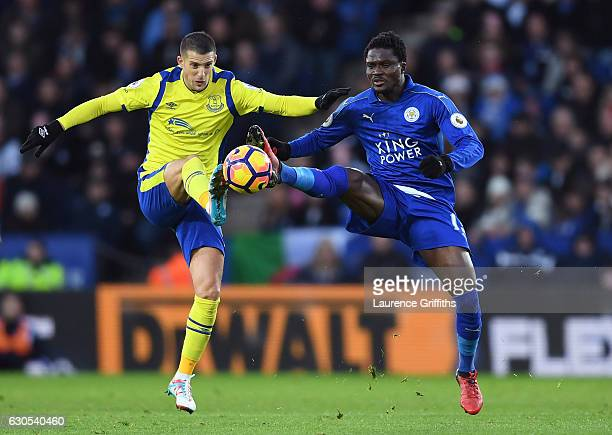 Kevin Mirallas of Everton and Daniel Amartey of Leicester City compete for the ball during the Premier League match between Leicester City and...