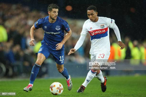 Kevin Mirallas of Everton and Kenny Tete of Olympique Lyonnais during the UEFA Europa League group E match between Everton FC and Olympique Lyon at...