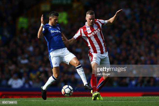 Kevin Mirallas of Everton and Ryan Shawcross of Stoke City battle for possession during the Premier League match between Everton and Stoke City at...