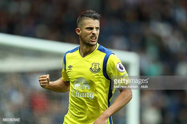 Kevin Mirallas of Everton celebrates after scoring a goal to make it 11 during the Premier League match between West Bromwich Albion and Everton at...