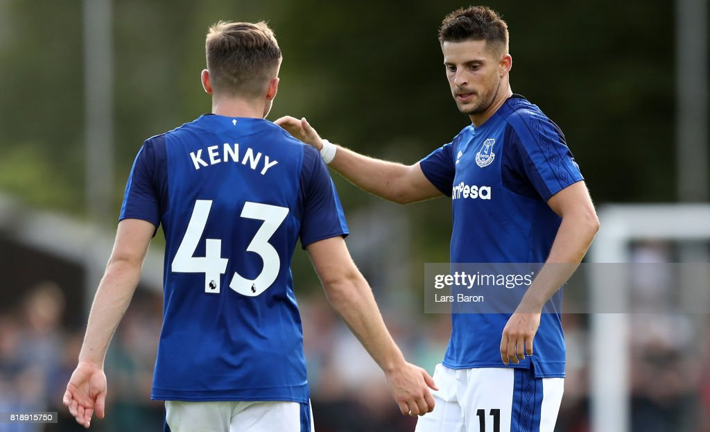 Kevin Mirallas of Everton celebrates after scoring his teams first goal during a preseason friendly match between FC Twente and Everton FC at Sportpark de Stockakker on July 19, 2017 in De Lutte, Netherlands.