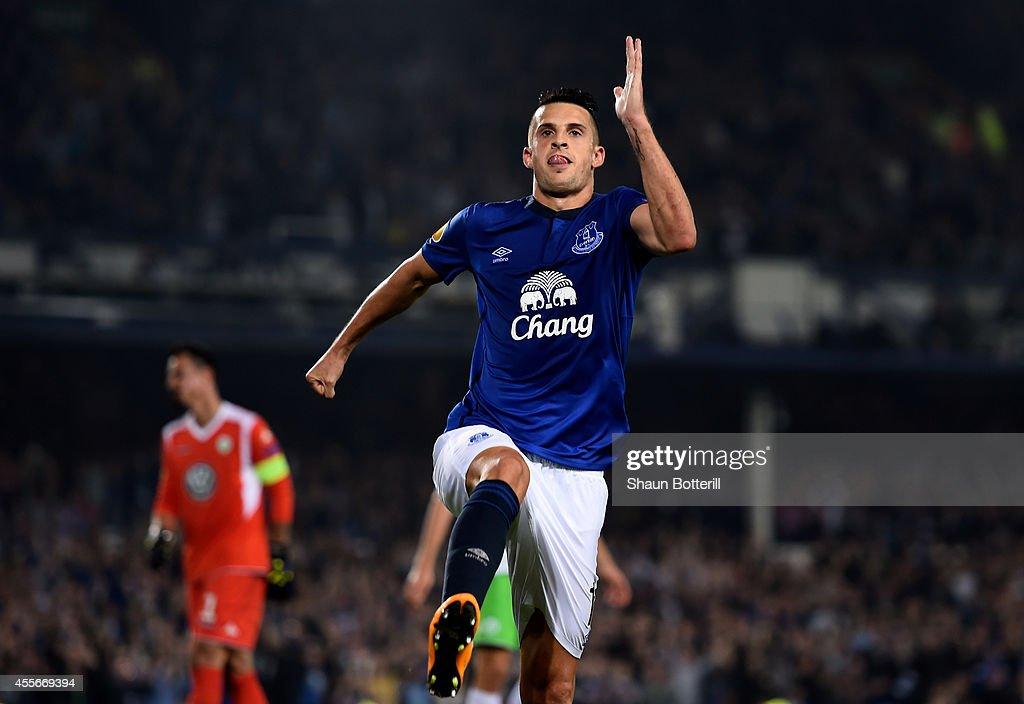 Kevin Mirallas of Everton celebrates after scoring his team's fourth goal during the UEFA Europa League Group H match between Everton and VFL Wolfsburg on September 18, 2014 in Liverpool, United Kingdom.