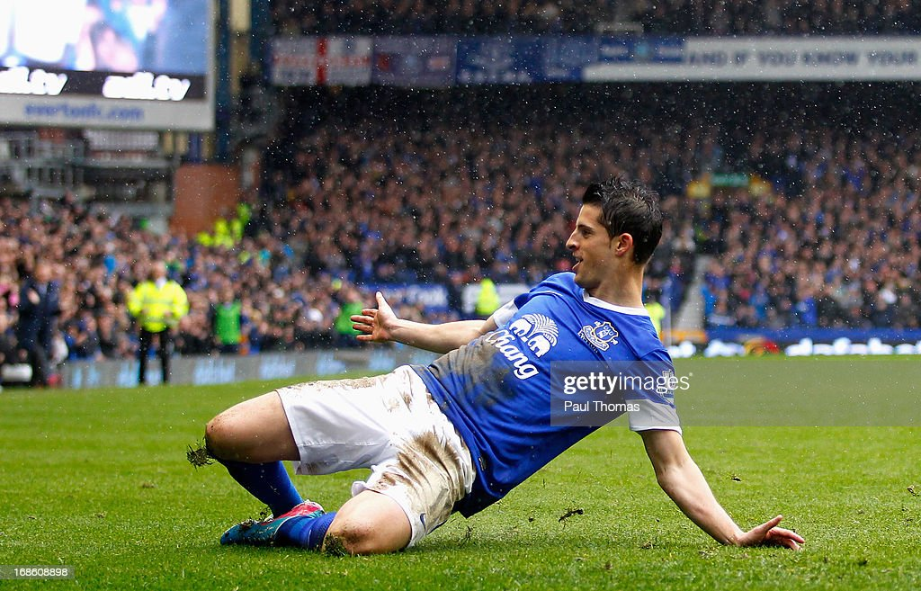 Kevin Mirallas of Everton celebrates his first goal during the Barclays Premier League match between Everton and West Ham United at Goodison Park on May 12, 2013 in Liverpool, England.