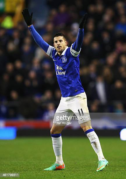 Kevin Mirallas of Everton celebrates his goal during the Barclays Premier League match between Everton and Norwich City at Goodison Park on January...