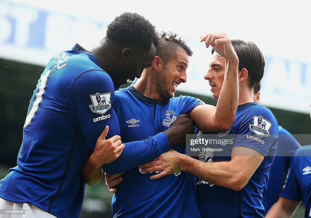 Kevin Mirallas (C) of Everton celebrates scoring his goal with Romelu Lukaku (L) and Leighton Baines of Everton during the Barclays Premier League match between West Bromwich Albion and Everton at The Hawthorns on September 13, 2014 in West Bromwich, England.