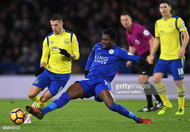 Kevin Mirallas of Everton is tackled by Daniel Amartey of Leicester City during the Premier League match between Leicester City and Everton at The...