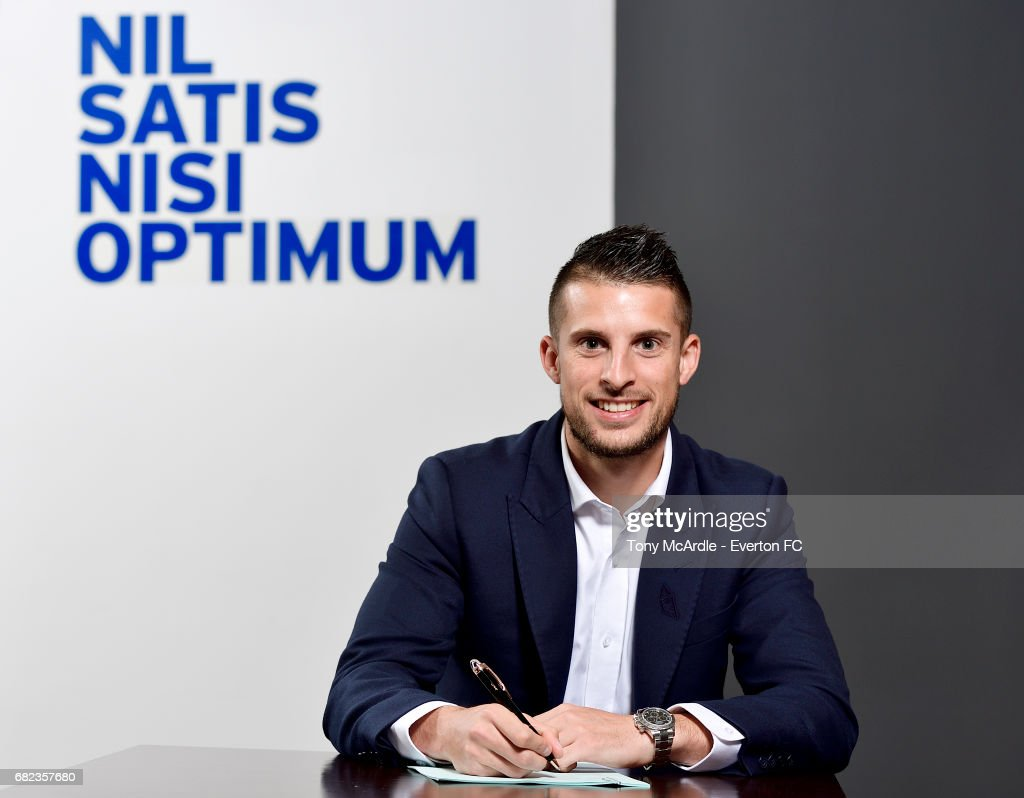 Kevin Mirallas of Everton poses for a photo after he signs a new contract at Goodison Park on May 12, 2017 in Liverpool, England.