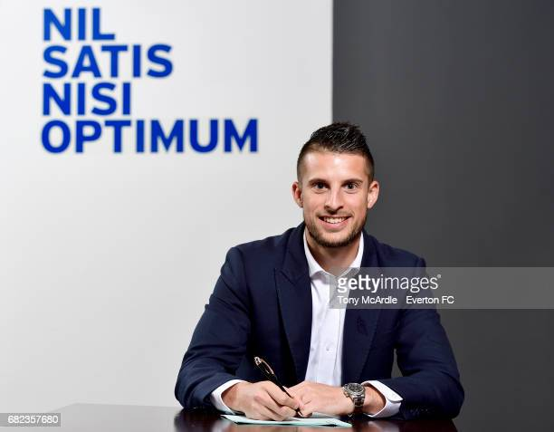 Kevin Mirallas of Everton poses for a photo after he signs a new contract at Goodison Park on May 12 2017 in Liverpool England