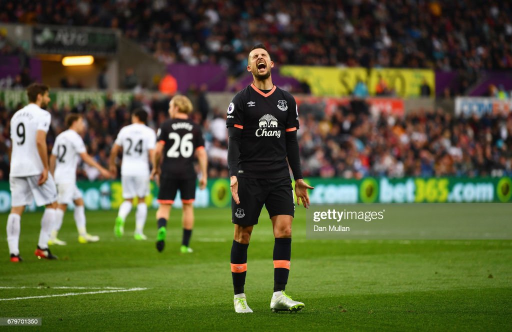 Kevin Mirallas of Everton reacts during the Premier League match between Swansea City and Everton at the Liberty Stadium on May 6, 2017 in Swansea, Wales.