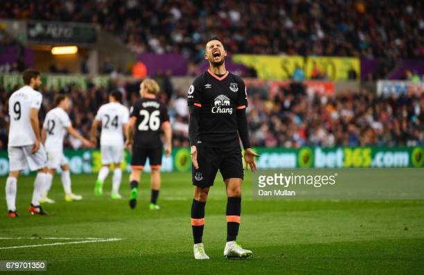 Kevin Mirallas of Everton reacts during the Premier League match between Swansea City and Everton at the Liberty Stadium on May 6 2017 in Swansea...