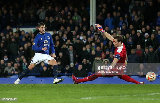 Kevin Mirallas of Everton scores his side's third goal