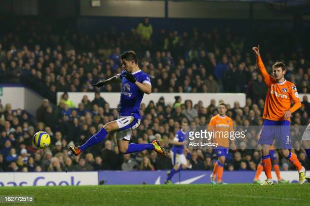 Kevin Mirallas of Everton scores the opening goal during the FA Cup fifth round replay match between Everton and Oldham Athletic at Goodison Park on...
