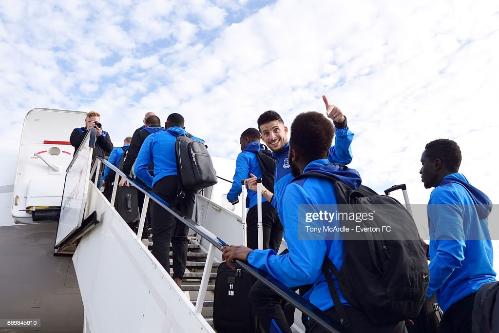 Kevin Mirallas of Everton waves as he boards the plane to Lyon ahead of their UEFA Europa League match at Liverpool John Lennon Airport on November 1, 2017 in Liverpool, England.