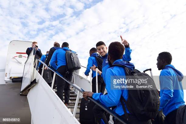 Kevin Mirallas of Everton waves as he boards the plane to Lyon ahead of their UEFA Europa League match at Liverpool John Lennon Airport on November 1...