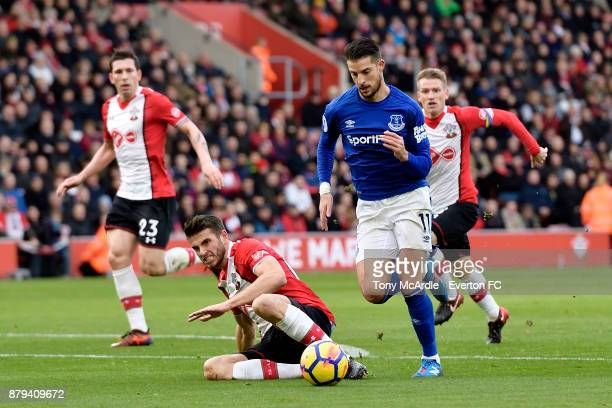 Kevin Mirallas of Everton with runs at goal goal during the Premier League match between Southampton and Everton at St Mary's Stadium on November 26...