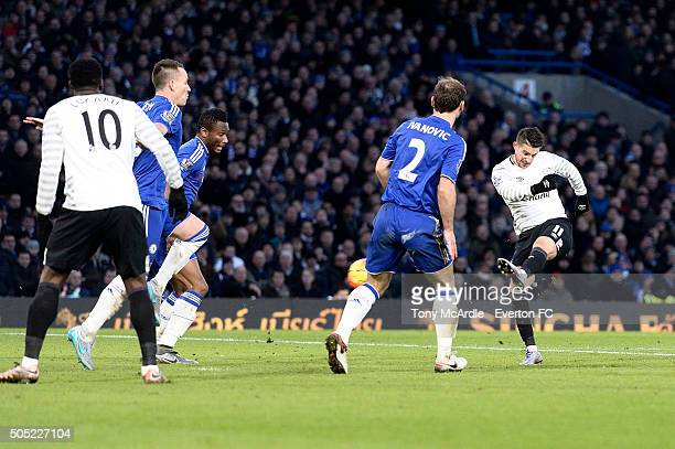 Kevin Mirallas shoots to score during the Barclays Premier League match between Chelsea and Eanderton at Stamford Bridge on January 16 2016 in London...