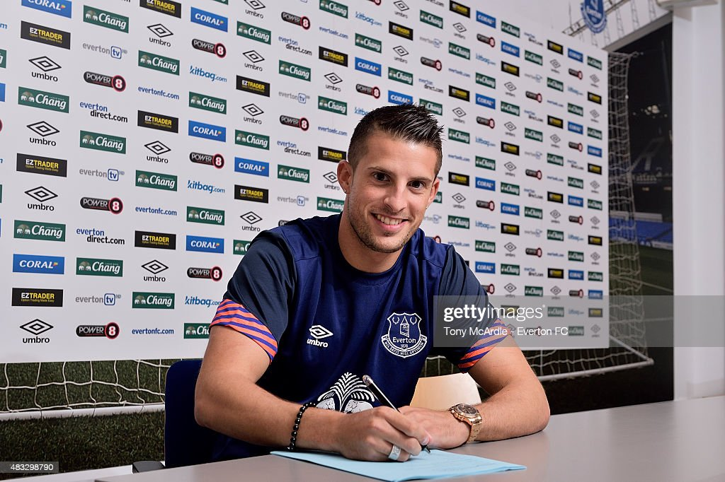 Kevin Mirallas signs a new contract at Everton at Finch Farm on August 7, 2015 in Liverpool, England.