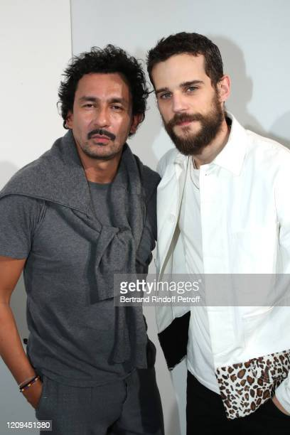 Kevin Mischel and Designer Haider Ackermann pose after the Haider Ackermann show as part of the Paris Fashion Week Womenswear Fall/Winter 2020/2021...