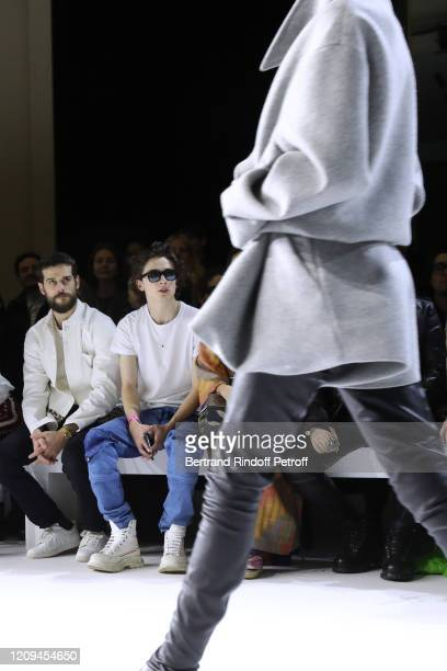 Kevin Mischel and Timothée Chalamet attend the Haider Ackermann show as part of the Paris Fashion Week Womenswear Fall/Winter 2020/2021 on February...